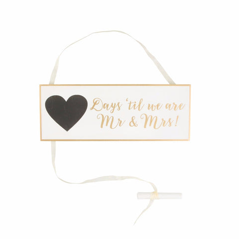 Gold & White Wedding Countdown Sign