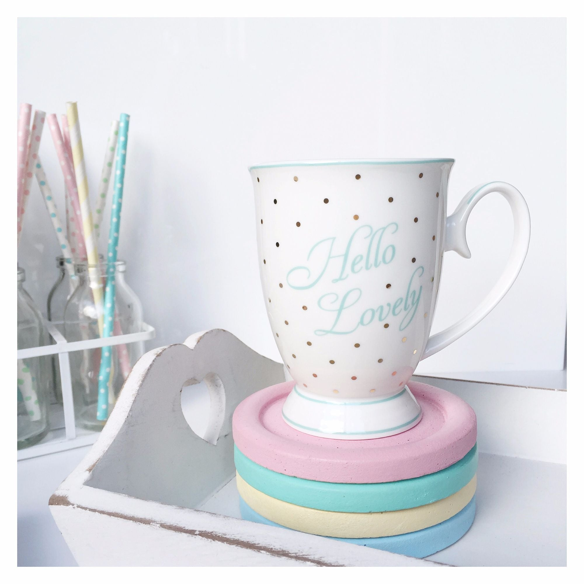 Bombay Duck Hello Lovely Gold & Mint Polkadot Mug