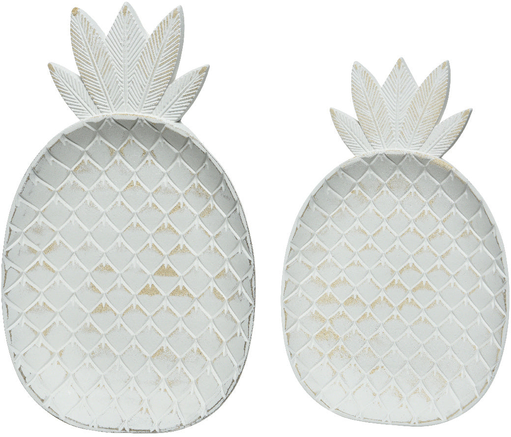 White Pineapple Plates - Set of 2