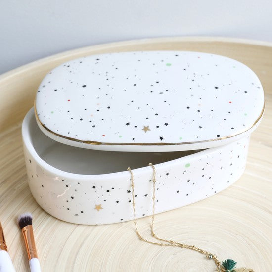 Ceramic Moon and Stars Trinket Box