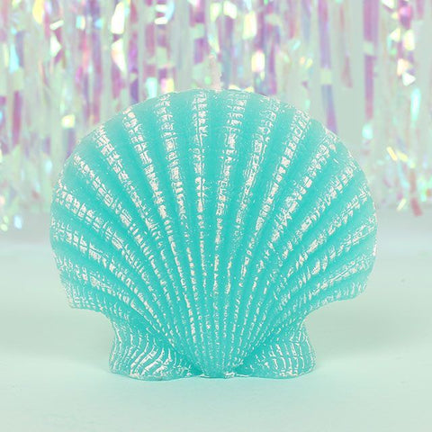 Mermaid Clam Shell Turquoise Candle