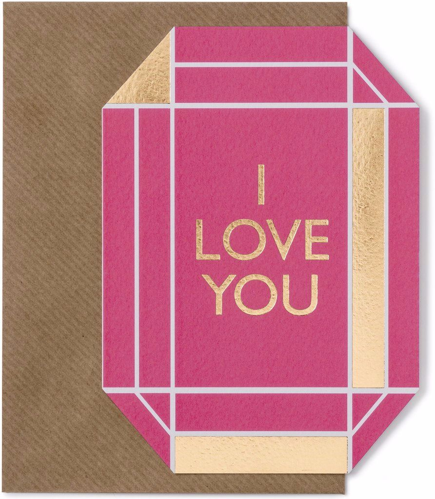 I Love You Gold Foil Gem Greeting Card