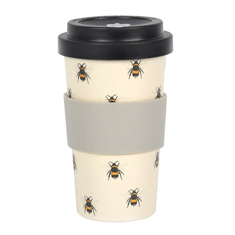 Bee Print Bamboo Eco Travel Mug