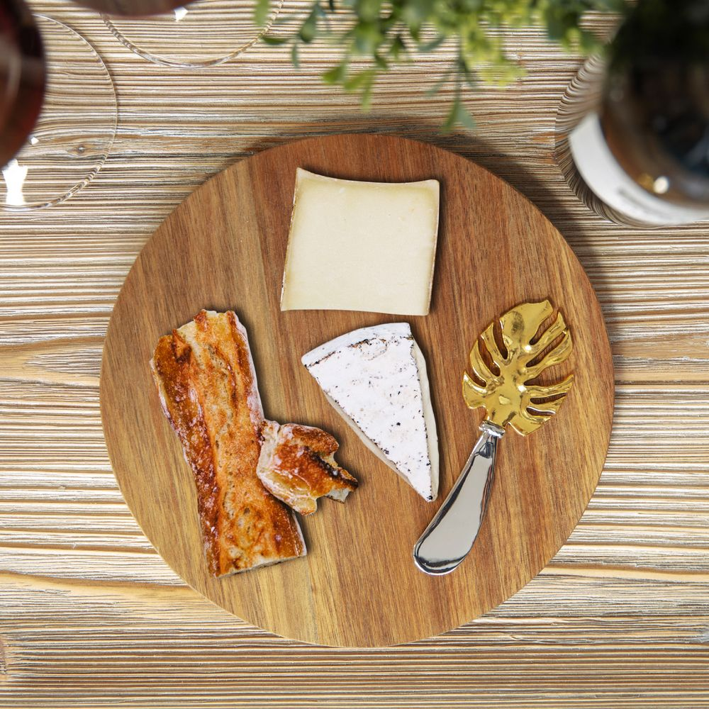 Acacia Cheese Board With Monstera Leaf Spreader