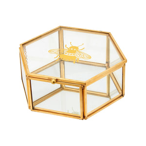 Golden Bee Glass Jewellery Box