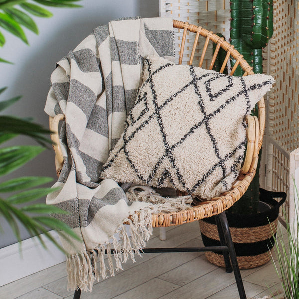 Scandi Boho Stripe Blanket Throw