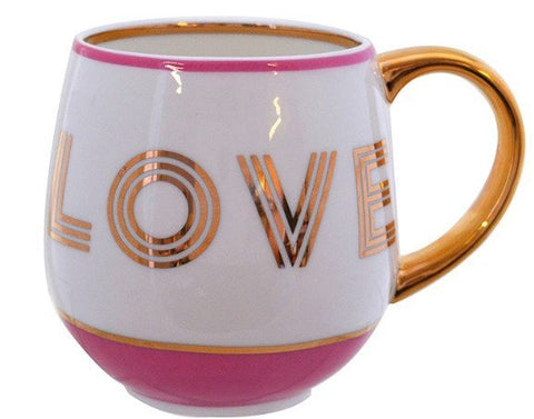 Bombay Duck Pink & Gold LOVE Cosy Mug
