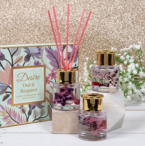 Set of 3 Floral Diffusers - Oud & Bergamot