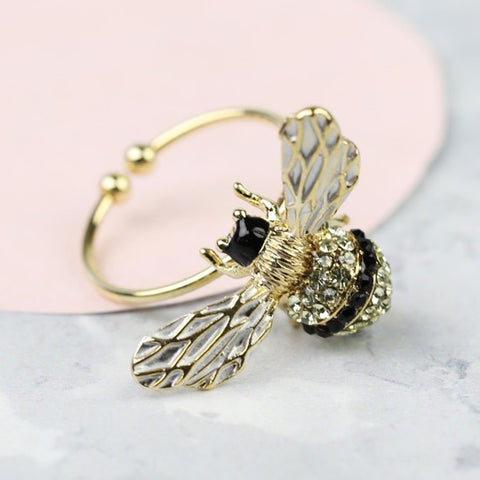 Crystal Gold Bee Ring