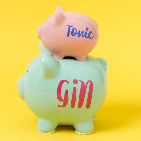 Pennies & Dreams Double Piggy Bank - Gin & Tonic