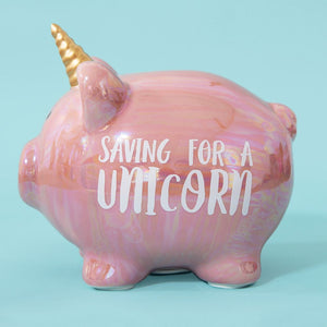 Pennies & Dreams Double Piggy Bank - Saving for a Unicorn