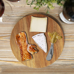 Acacia Cheese Board With Bee Spreader