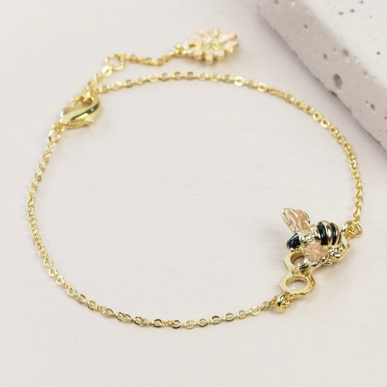 Honeycomb Bumble Bee Gold Bracelet
