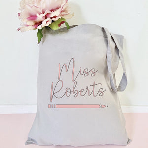 Personalised Teacher Pencil Tote Bag