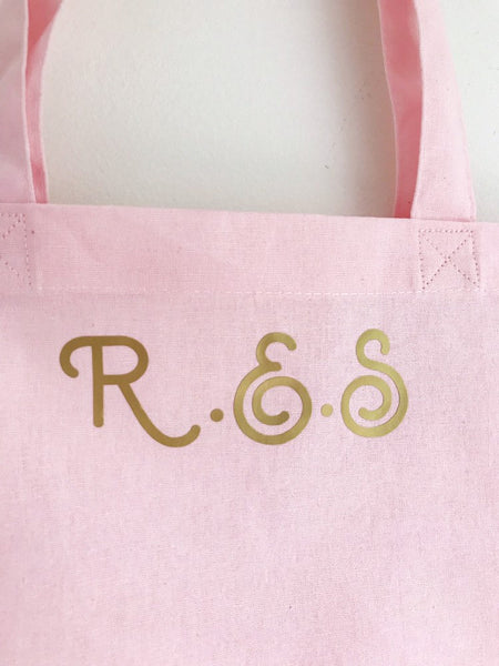 Personalised Initial Tote Shopper Bag Swirly