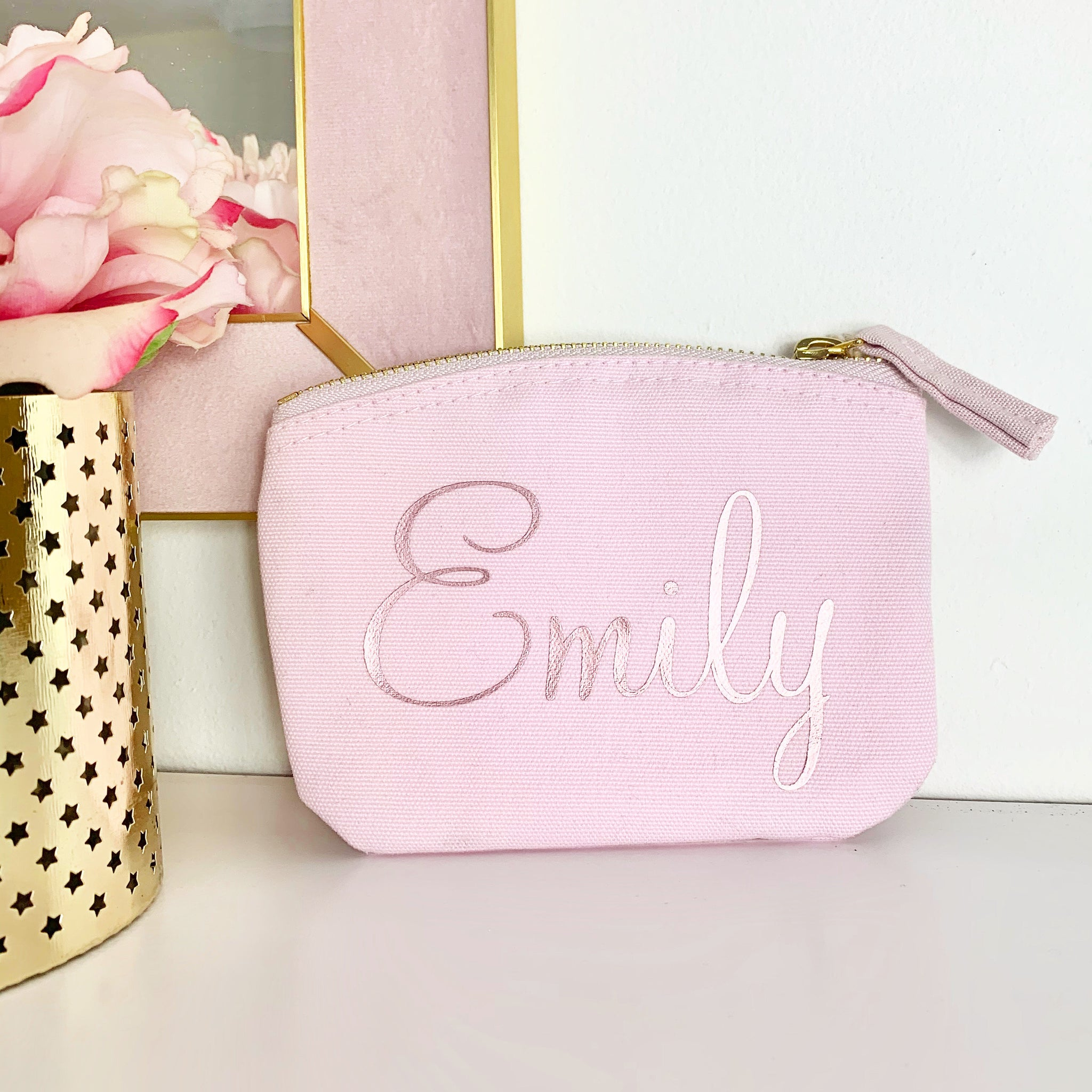 Personalised Pink & Gold Name Coin Purse
