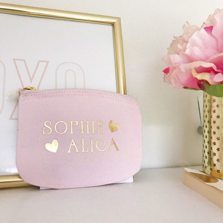 Personalised Pink & Gold Heart Coin Purse Botanical Print