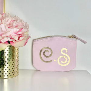 Personalised Pink & Gold Initial Coin Purse
