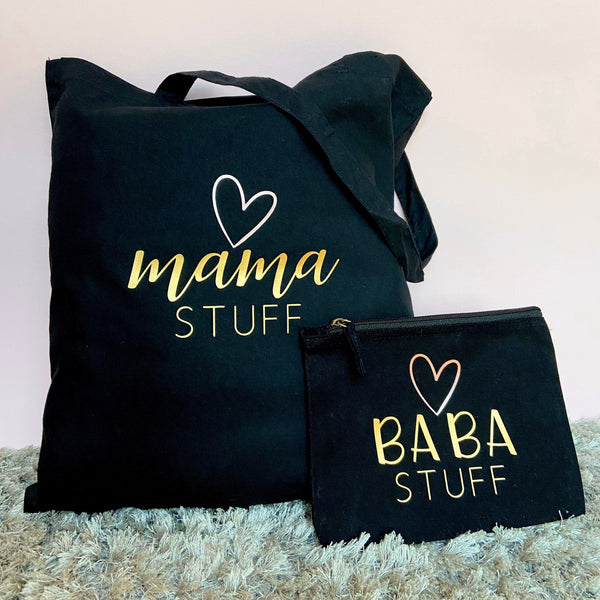 Mama Stuff & Baba Stuff Bag and Pouch Set