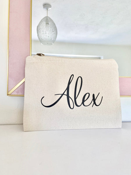 Personalised Grey Make Up Bag