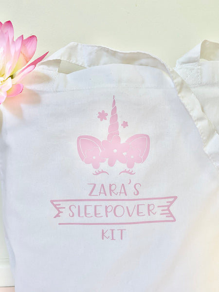 Personalised Sleepover Kit Bag