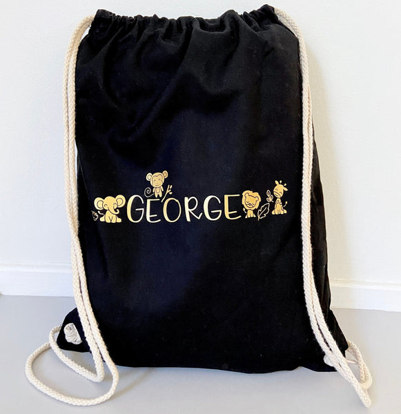 Personalised Name Safari Animal Drawstring Bag