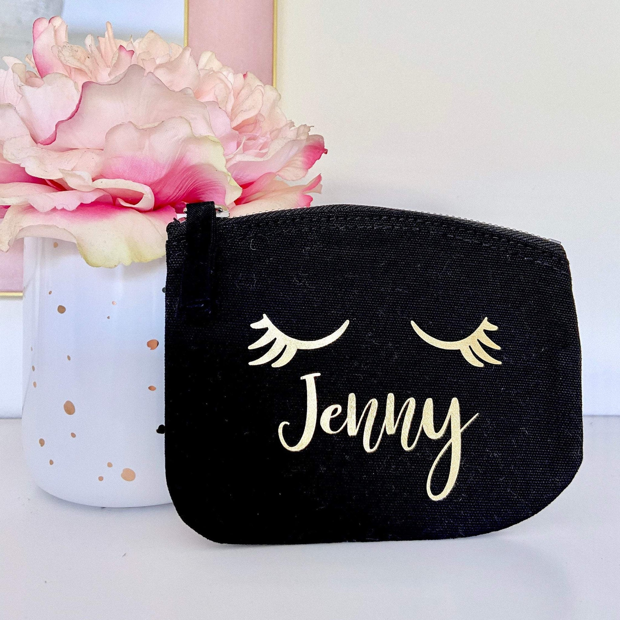 Personalised Name Eye Lashes Coin Purse