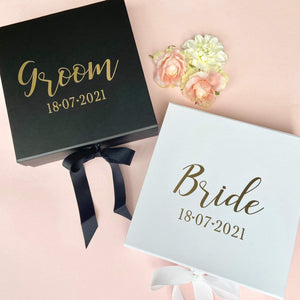 Personalised Bride & Groom Gift Boxes - Set of 2
