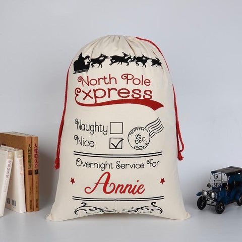 Personalised North Pole Express Christmas Sack