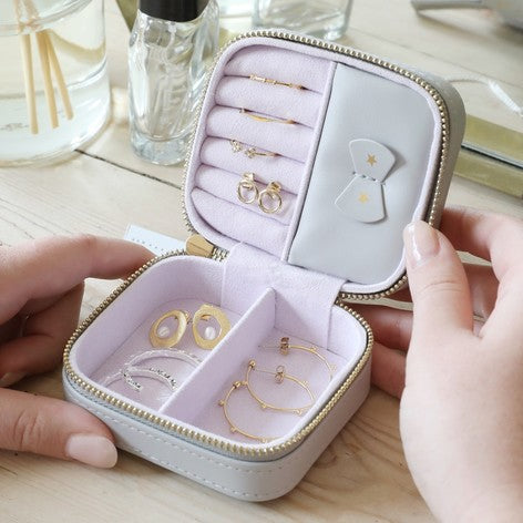 Grey and Gold Stars Square Jewellery Box