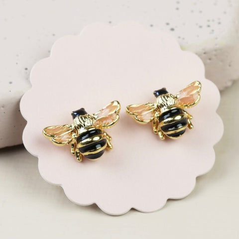 Mini Golden Bee Stud Earrings