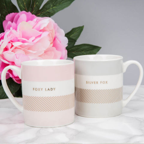Foxy Lady & Silver Fox Double Mug Set of 2