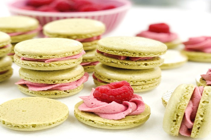 Raspberry Green Tea Macarons