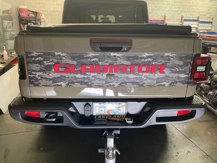 2020-2021 Jeep Gladiator Tailgate Replacement Lettering Black and Red Dual Color