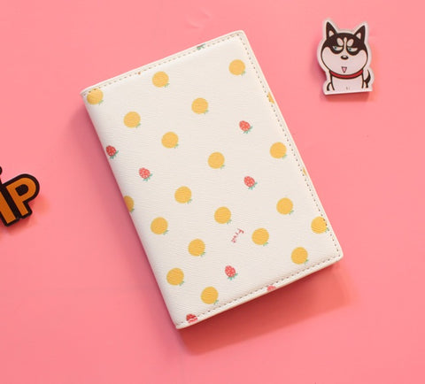 Passport Holder with Cartoon Oranges and Strawberries