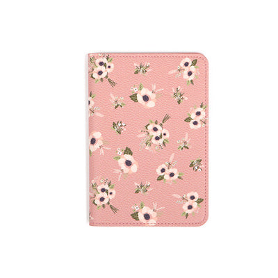 Pink Flowers Synthetic Leather Passport Holder