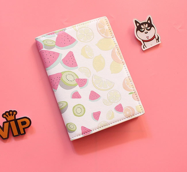 Passport Holder with Cartoon Watermelons and Lemons