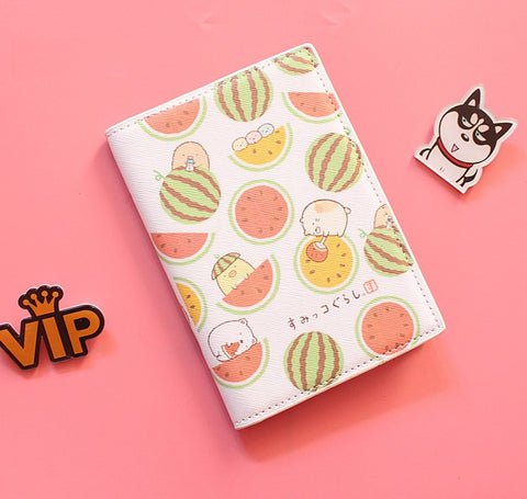Passport Holder with Cartoon Watermelons