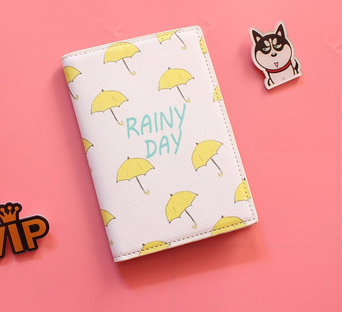 Passport Holder with Yellow Umbrellas