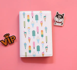 Passport Holder Cover with Cartoon Ice Creams