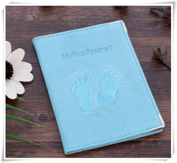 Suede Leather Passport Holder with Embroiled Footprints
