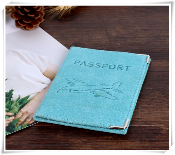 Suede Leather Passport Holder with Airplane Engraving