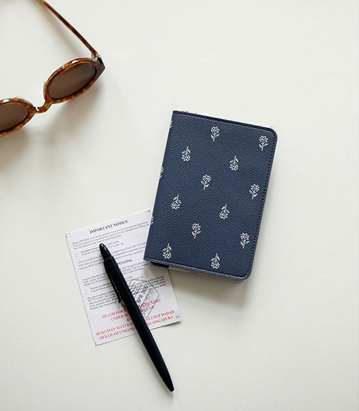 Flowers Navy Synthetic Leather Passport Holder