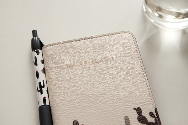 Cactus White Synthetic Leather Passport Holder