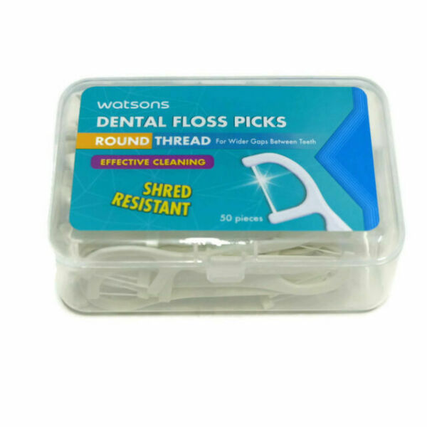 Watsons Dental Floss Pick Round Thread (50 Pieces)