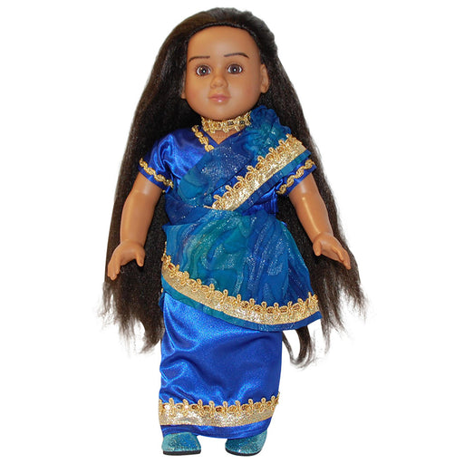 Indian Blue with Gold Trim Dress