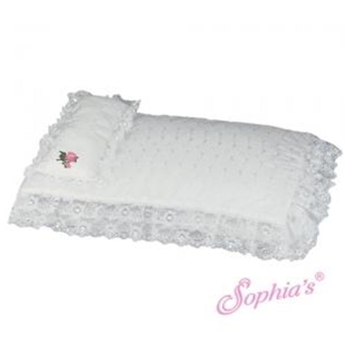 "18"" Doll White Eyelet Bedding Set"