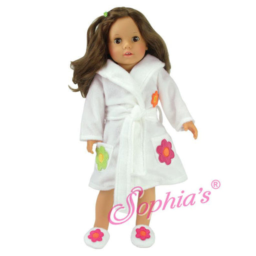 "18"" Doll White Robe and Slippers"