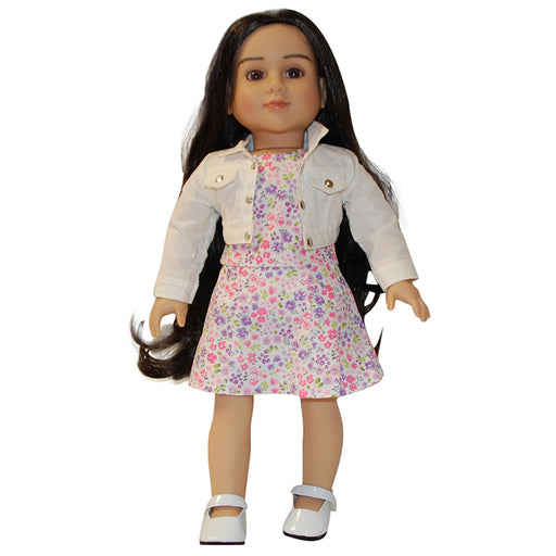 "18"" Doll Floral Dress with White Jacket"