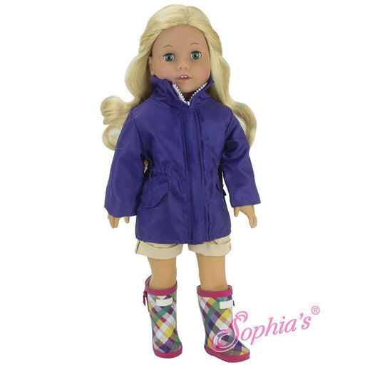"18"" Doll Purple Parka with Plaid Rain Wellies"